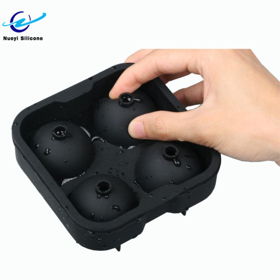 Personalized 4 Cavity Spherical Platinum Silicone Ice Cube Tray Mold