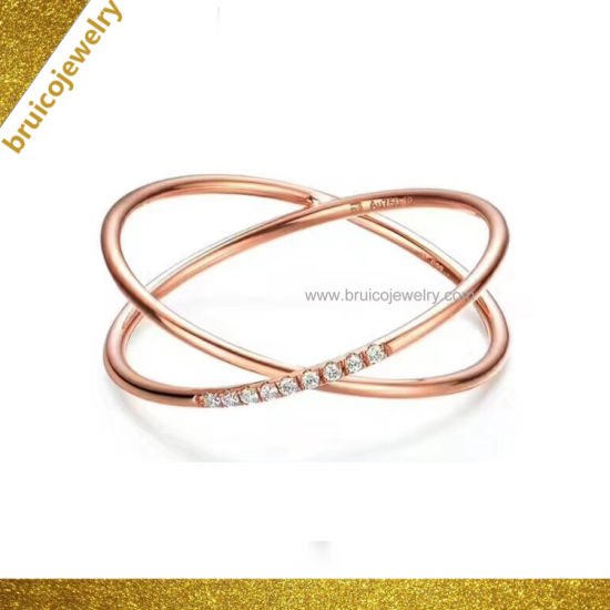 Trendy Sterling Silver Jewelry Ring Love Heart Design 14K Rose Gold Plating  Diamond Ring