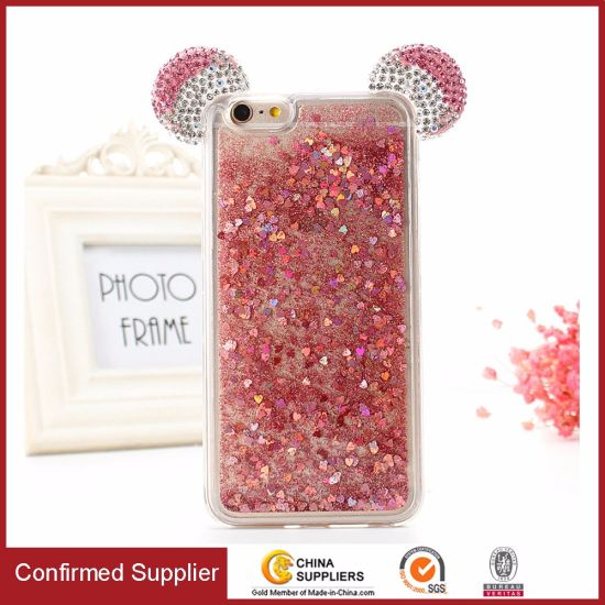 Creative Design 3D Bling Rhinestone Liquid Glitter Quicksand Phone Case