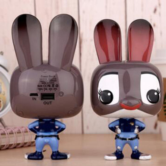 10000mAh Cartoon Lovely Crazy Animal Rabbit Judy Power Bank for iPhone 7 Plus 6s Samsung Hua Wei Cell Mobile Phone Power Bank Adapter
