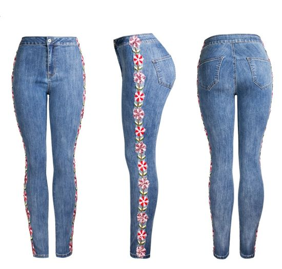 New Fashion High Waist Embroidery Side Slim Blue Jeans Women pictures & photos