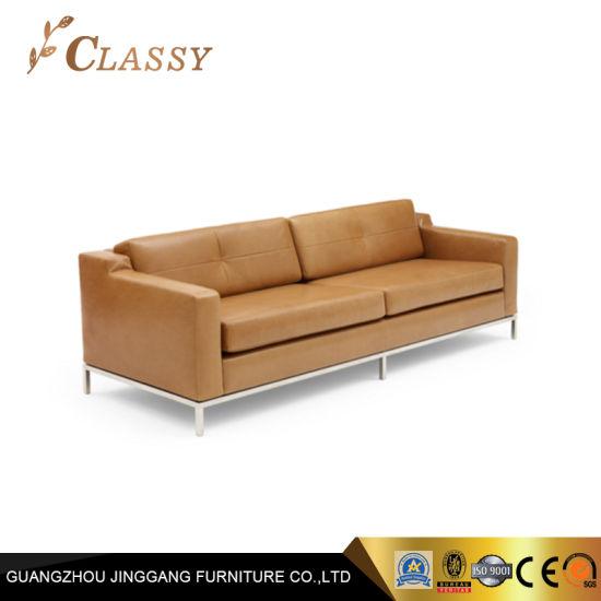 Italian Brown PU Leather Office Sofa