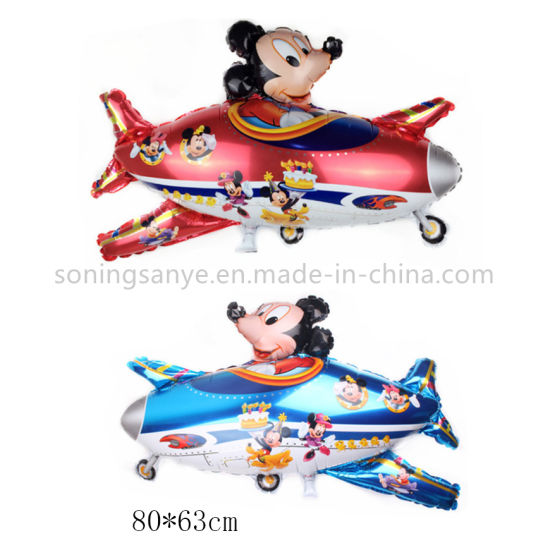 Dto0128 Cartoon Character Mickey Mouse Foil Balloons Party Decoration Inflatable Plane Balloon