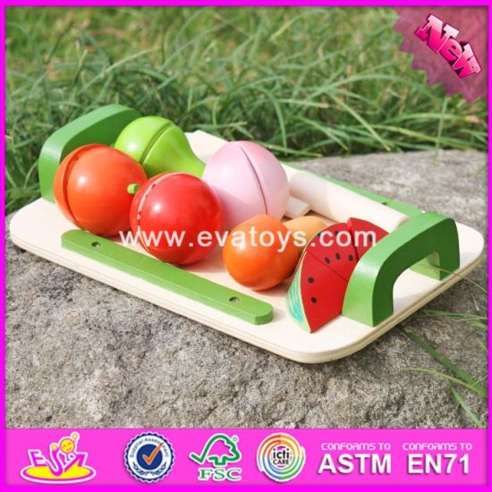 2017 Wholesale Baby Wooden Cut and Play Food, Funny Kids Wooden Cut and Play Food, Pretend Play Child Cut and Play Food W10b177
