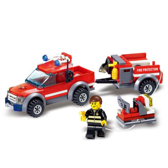3f9074379 1488055-143PCS Firefighting Cew Building Blocks Educational Toys DIY Bricks  Fire Assembled Toy Fire Truck