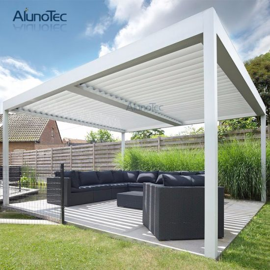 china modern garden aluminum patio roof pergola gazebo with side screen china metal gazebo. Black Bedroom Furniture Sets. Home Design Ideas