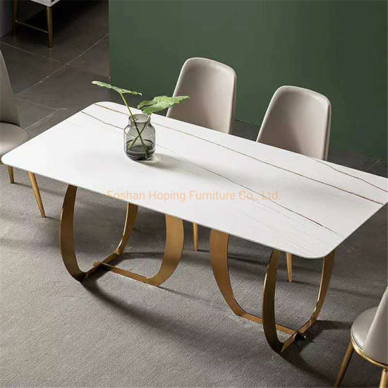 Modern Home Restaurant Furniture Set Special Metal Stainless Steel White Dining Table