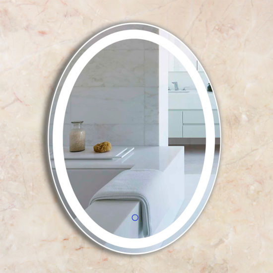 Hotel Wholesale Frameless Lighted LED Bathroom Mirror with Touch Switch & Defogger