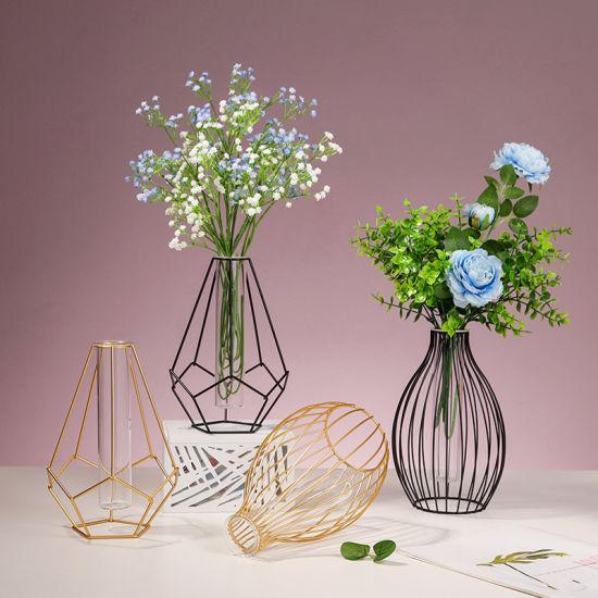 Home Table Gold Black Hydoponic Oval Metal Iron Frame Flower Pot Vase