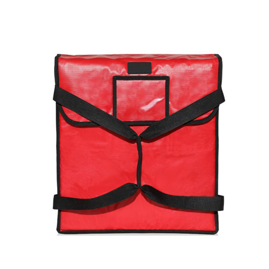 """High Quality Waterproof Insulated Pizza Delivery Bag, Food Delivery Bag 18"""" by 18"""" by 5"""", Red"""