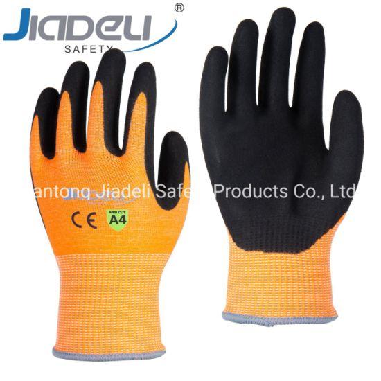 BSCI Certified Manufacturer Custom Logo Personal Hands Safety 13 Gauge Orange A4 Level D U2 Shell, Sandy Nitrile on Palm