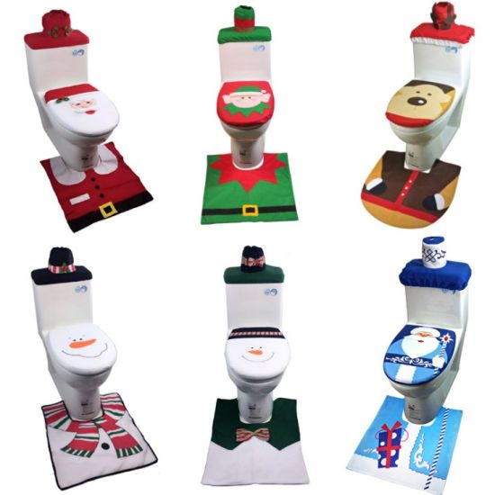Fancy 3 PCS Christmas Decorations Happy Santa Toilet Seat Cover with Rug pictures & photos