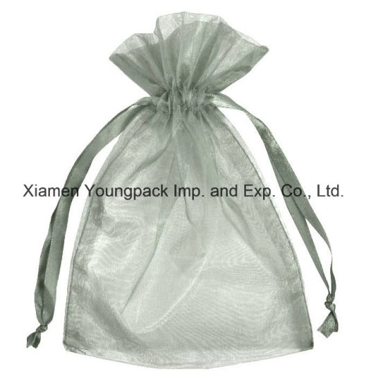 Wholesale Bulk Personalized Custom Printed Silver Grey Jewelry Gift Drawstring Pouch Organza Bag