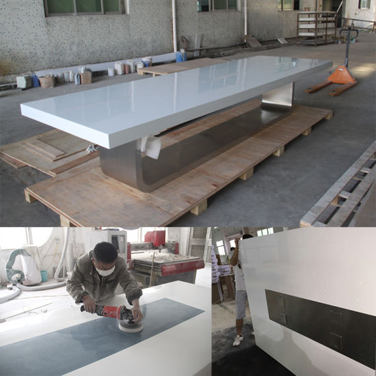China High Quality Modern High Gloss White Artifiical Marble Smart - White marble conference table