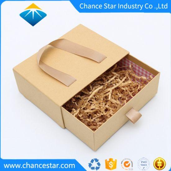 Custom Kraft Paper Cardboard Gift Drawer Box with Handle