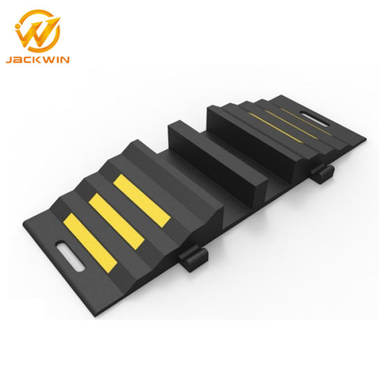 Traffic Safety 2 Channel Rubber Fire Hose Cable Ramp