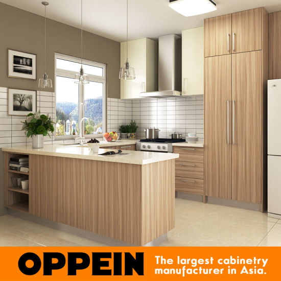 Oppein Modern U Shape Wooden Kitchen Cabinet With Melamine Finish Op16 M01