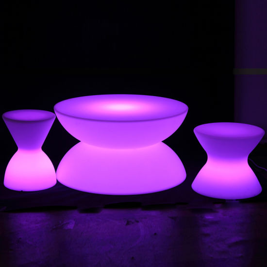 Plastic Material Led White Coffee Table In Rgb Color Changing For Hotel Amenities