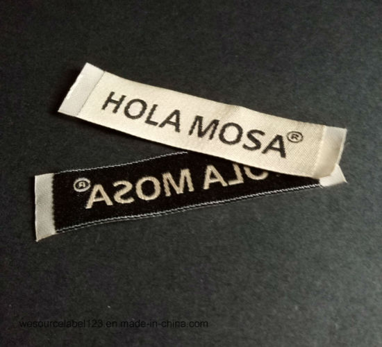 Damask Woven Label for Garment/ Apparel with Hot Cut