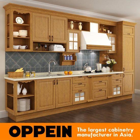 China Wood Grain Red Oak Solid Wood Wholesale Modular Kitchen