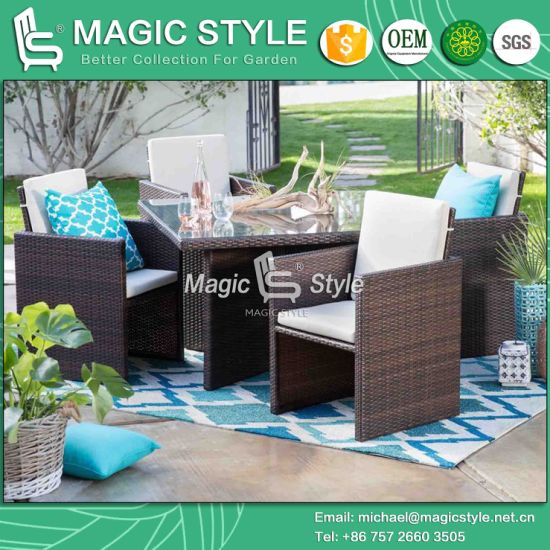 China Rattan Dining Set With Cushion Wicker Dining Chair Magic