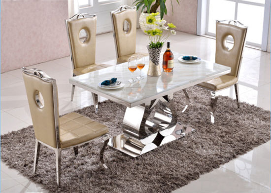 China Modern Dining Room Set Luxury Rectangle Glass Mirrored Dining ...