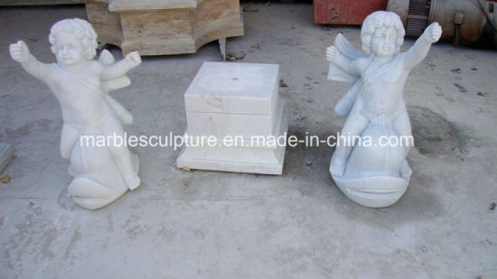 Natural White Stone Marble Sculpture Little Boy Garden Statue (SY MS126)
