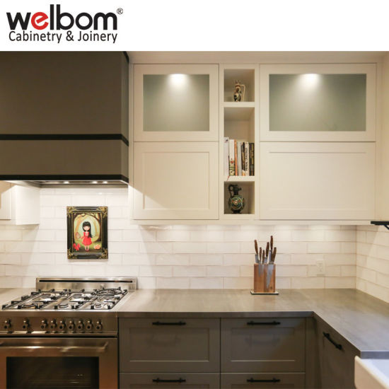 Welbom Country Style Shaker Solid Wood U Shape White Kitchen Cabinets