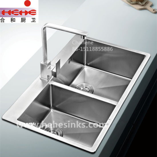 Top Mount Double Bowl Handmade Sink with Cupc Approved (HMTD3322L) pictures & photos