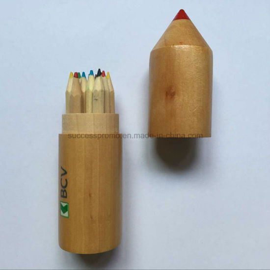 Promotion Color Pencil Set in Wooden Tube with Customized Logo