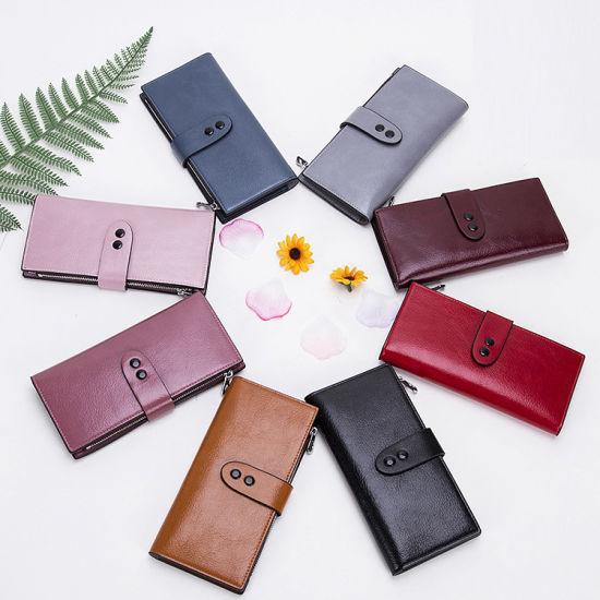 Latest Design Ladies Purse Large Capacity Money Clip Wallet Women Long Leather  Wallet pictures   photos 8a230a7067