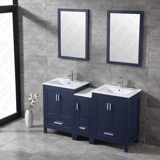 China 60 Inch Wood Bathroom Vanity With Two Sink Double Sink Bathroom Cabinet China Bathroom Vanity Bathroom Cabinet