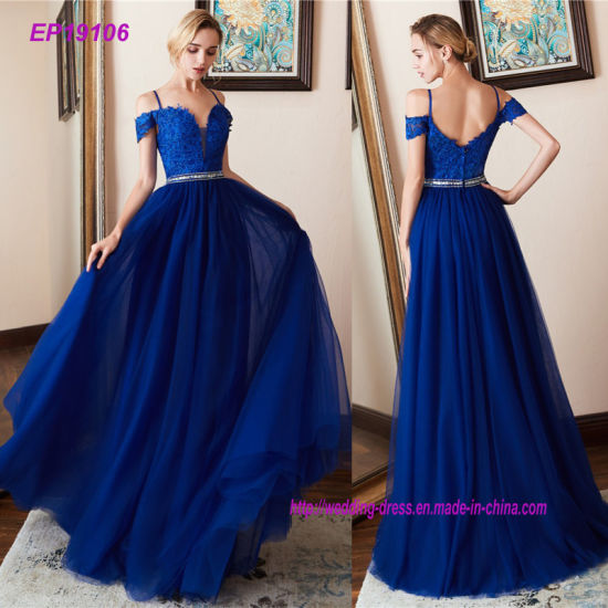62f8415439d Royal Blue Long Prom Dresses Vintage Beading Lace Tulle A Line Prom Dress  Party Gowns