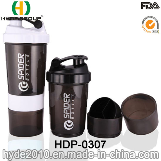 Customized 500ml PP Plastic Shaker Bottle with Protein Container (HDP-0307) pictures & photos