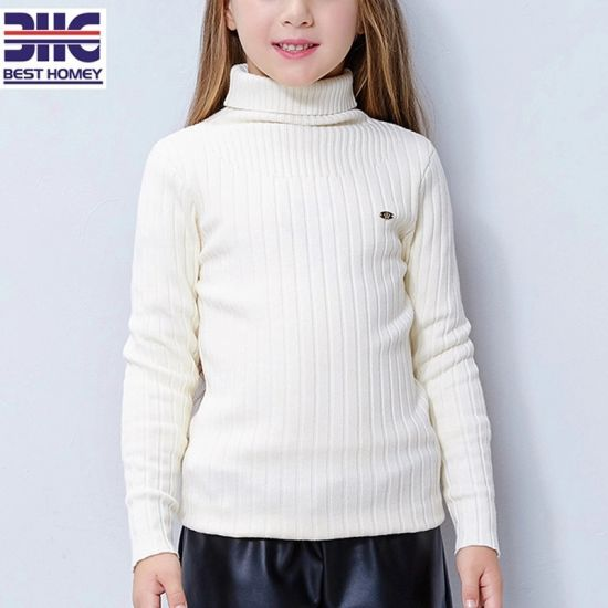 a726f47e2 China Kids′ 100% Cotton Turtleneck Knitted White Sweater Designs for ...