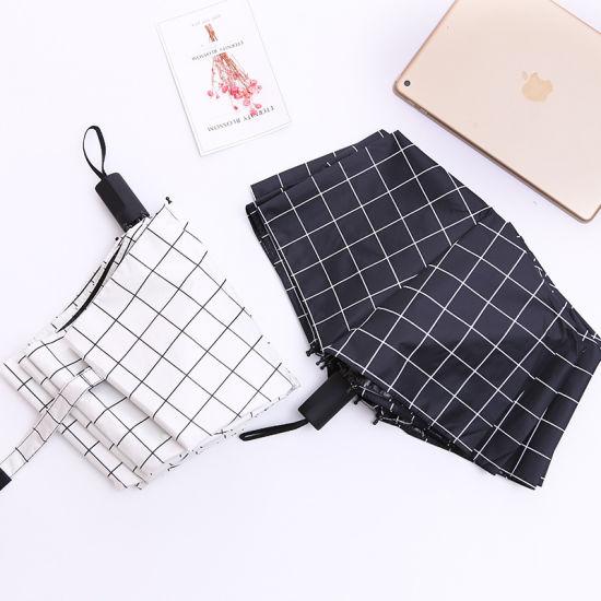 Black and White Checked Umbrella Folding Umbrella Small Fresh Sun Umbrella Gift Umbrella