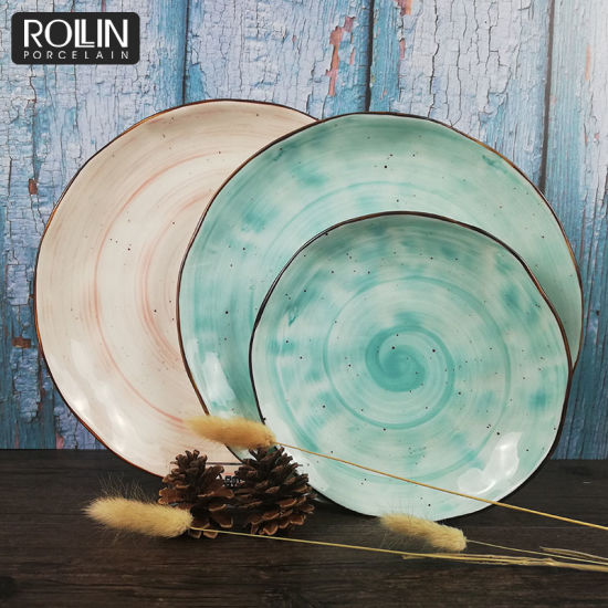 New Style Color Round Flat Plate Glaze Dinner Plate for Wedding&Banquet pictures & photos