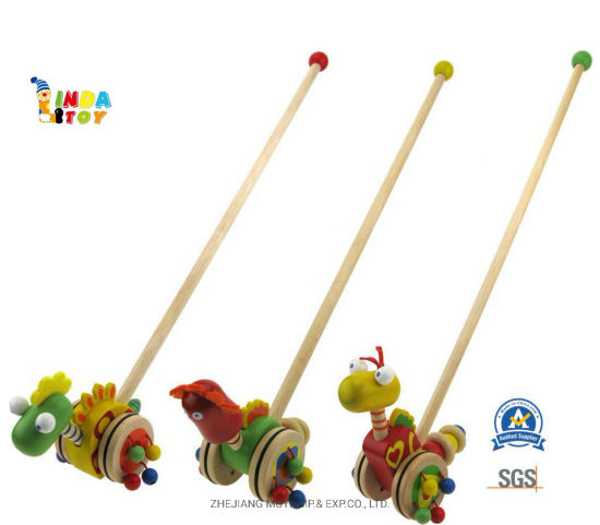 Intellectual Wooden Baby Toys for Kids Gift, 21483 Push Along Dinosaurs From Lindatoy