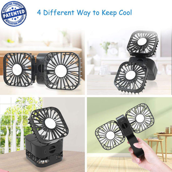 Portable Handheld Fan 3 Speed USB Rechargeable Dual Fan Desktop Cooling Fan Mini Travel Fan