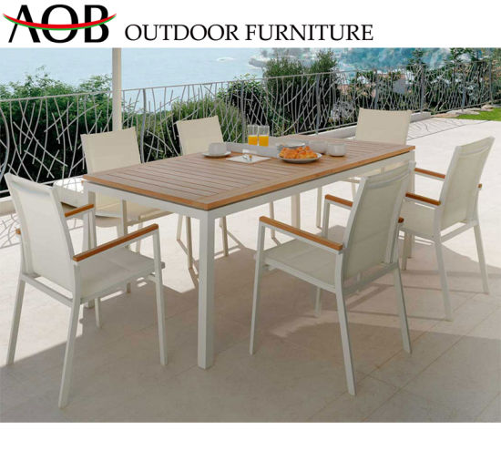 Chinese Wholesale Outdoor Living Garden Patio Hotel Bar Furniture Beach Table 6 Seat Metal Dining Chair Set