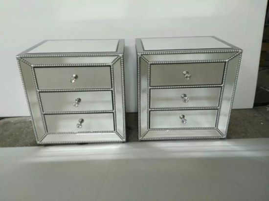 Venetian Mirrored Mirror Bedside Bed, 3 Drawer Mirrored Bedside Table