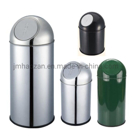 High Quality Stainless Steel Round Hole Hand Push Trash Bin, Dustbin