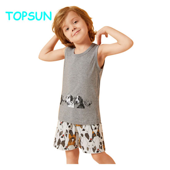 Toddler Boys Dog Print Sleeveless Vest Kids Pajamas 100% Cotton Baby Pyjamas Sets pictures & photos