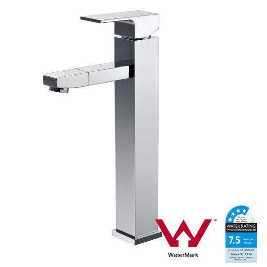 Watermark Bathroom Chrome Brass Suqare High Basin Tap (HD4200)