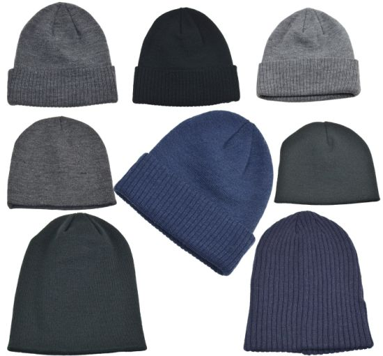 Recycled Hats Caps BSCI Certifications Adults Plain Beanie Recycled Yarn Knitted Hat