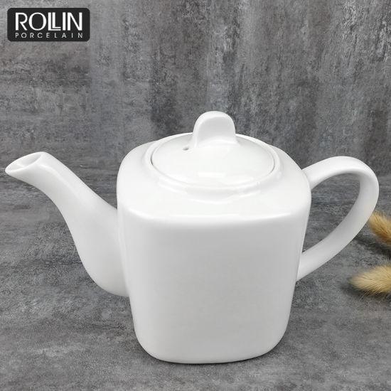 Square Shape Tea Pot Ceramic Pot for Restaurant