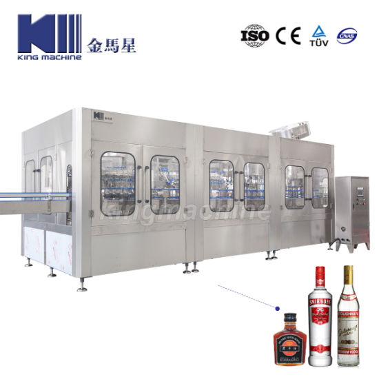 Full Automatic Glass Bottle Alcohol Drink Whisky Vodka Washing Filling Capping Red Grape Wine Spirits Liquor Rinsing Bottling Sealing Labeling Packing Machine