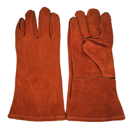 Split Leather Welding Gloves Long Cuff Welder Protective Cover