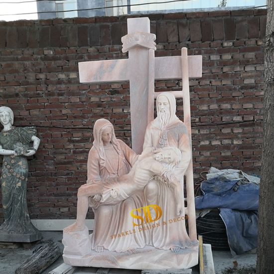 Christian Religious Marble Sculpture of Jesus Is Taken Down From The Cross for Church