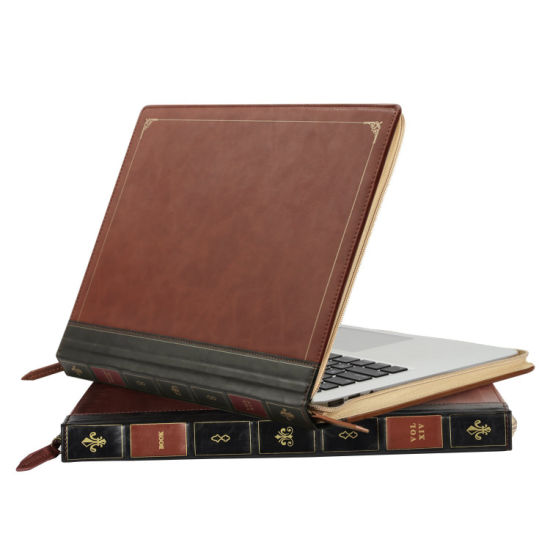 Premium PU Leather Vintage Zippered Book-Style Folio Case Cover for MacBook Only pictures & photos